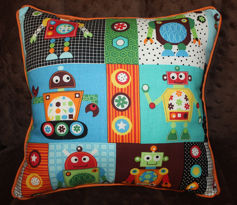 Robot Pillow in Orange, Blue, Brown, Green with Striped Cotton Fabric