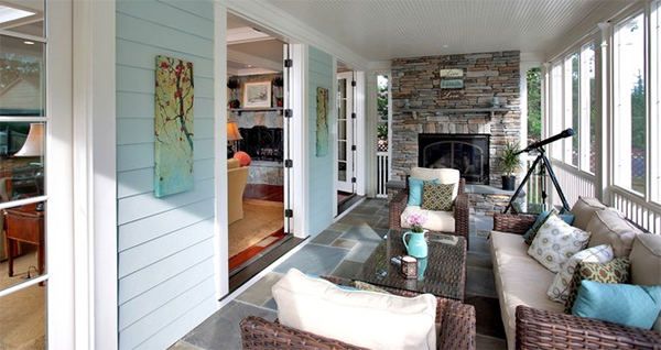 Family room and screened porch