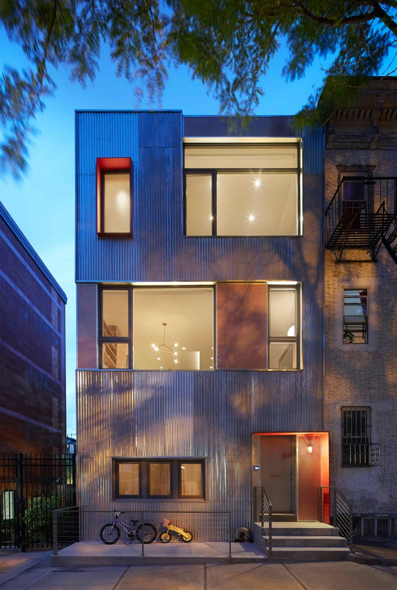 Unique Bold Facade Of The South Slope Townhouse In New