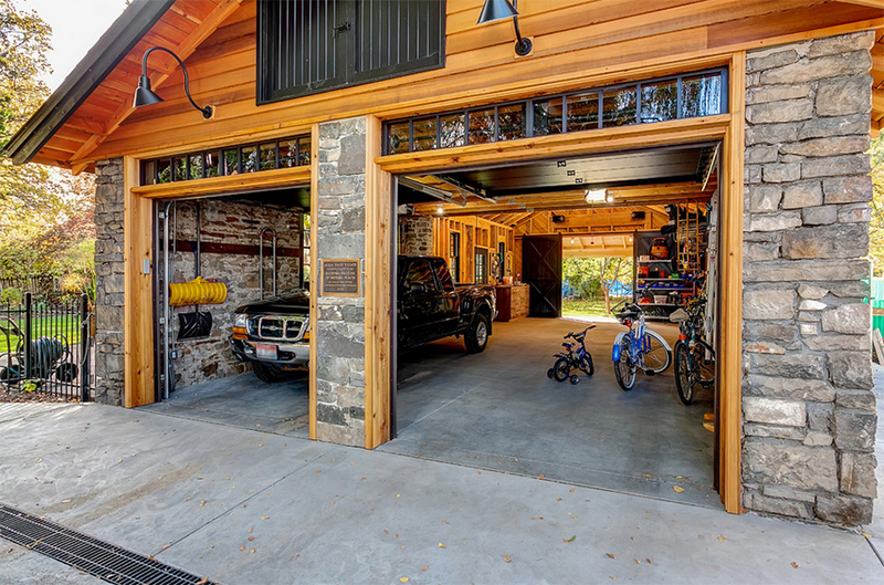Garage Remodel before and after photos of a renovated historic garage in idaho
