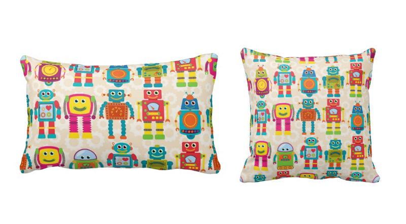 Colourful Kids Robot Cushion