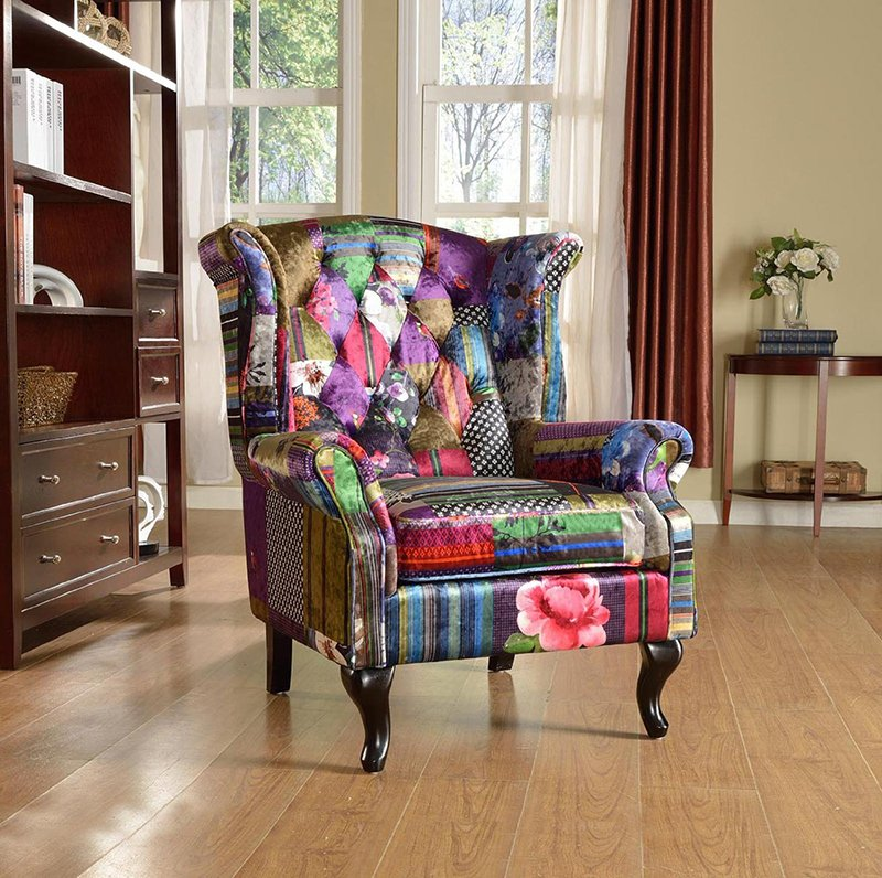 luxury patchwork fabric chair
