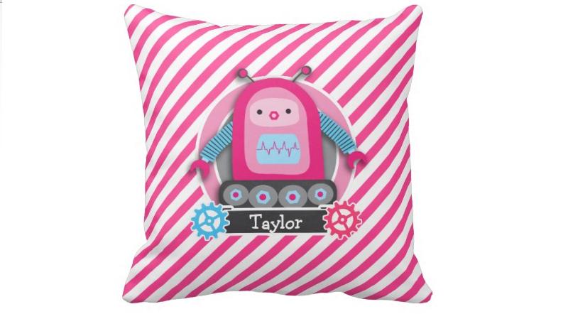 Pink & Blue Girl Robot; Pink & White Stripes