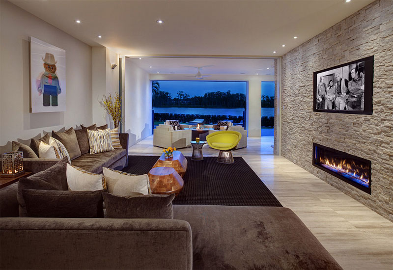 fashionable fire pit contemporary living room