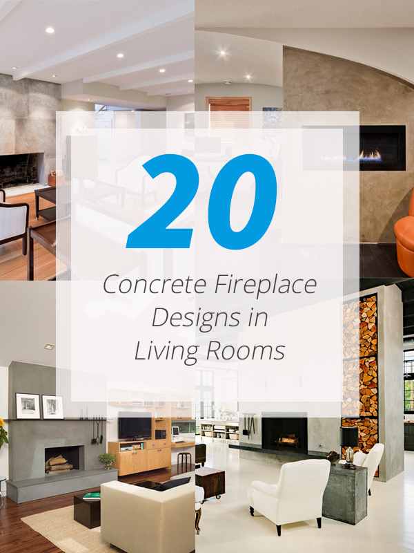 concrete fireplace living rooms