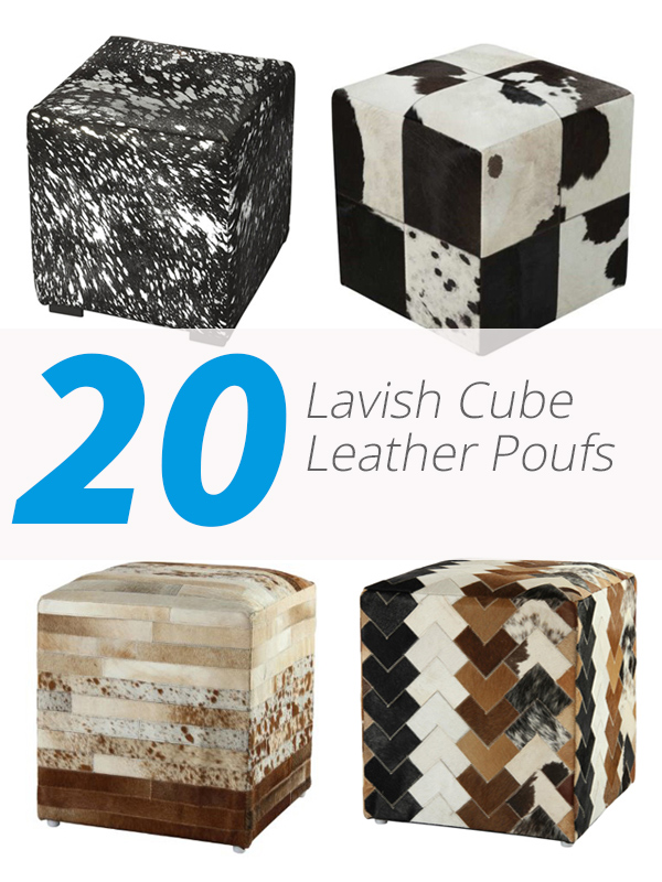 cube leather poufs