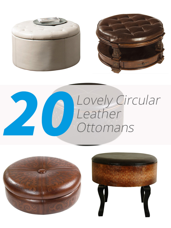 leather ottomans circular