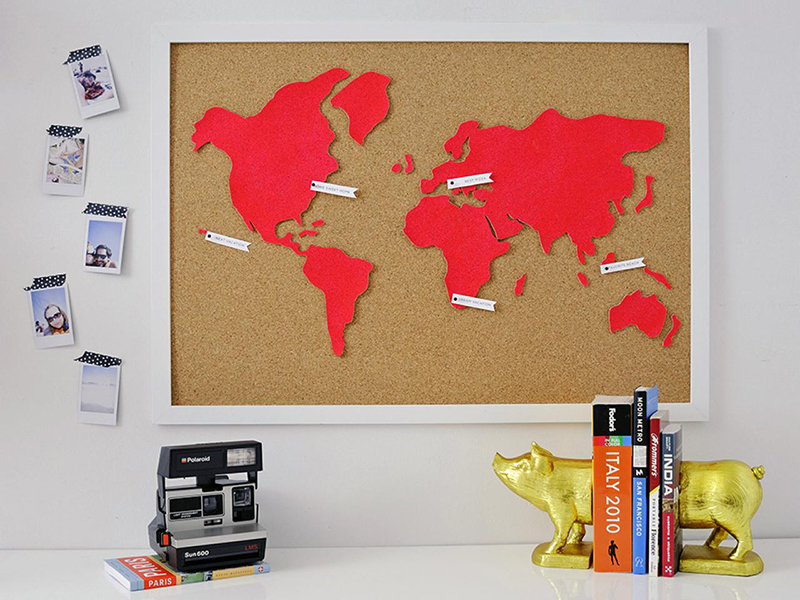 20 diy map home decor projects for a travel inspired interior diy cork world map gumiabroncs Image collections