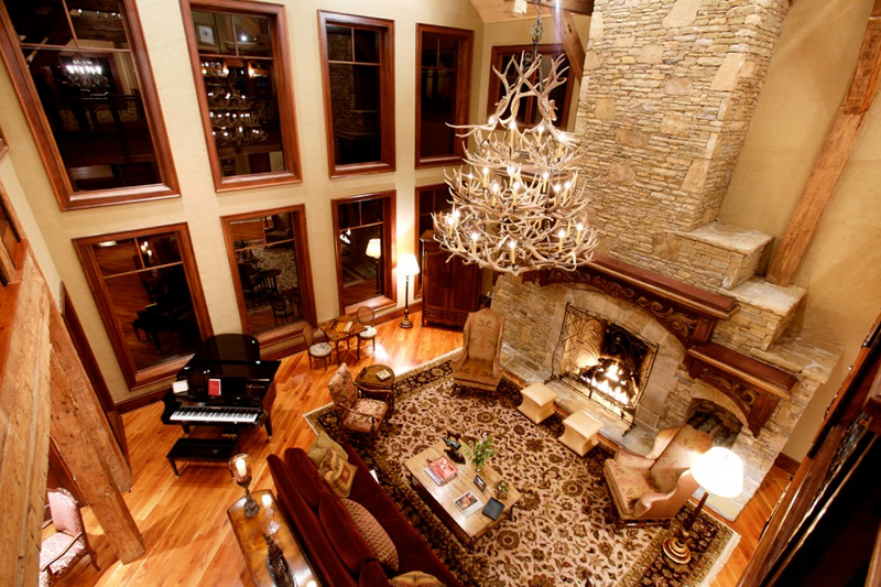 Fascinating antler chandeliers in 22 interesting living rooms home moss creek aloadofball Choice Image