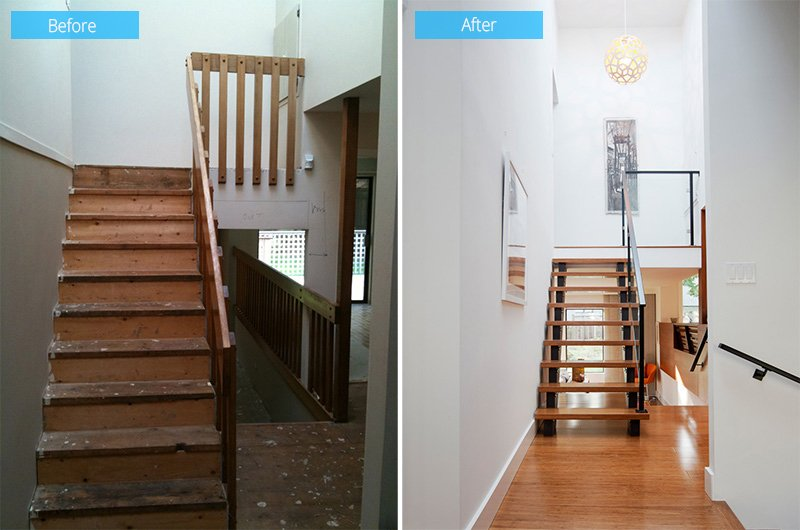 Before and after 1980 39 s split level house transformation - Photo maison renovee avant apres ...