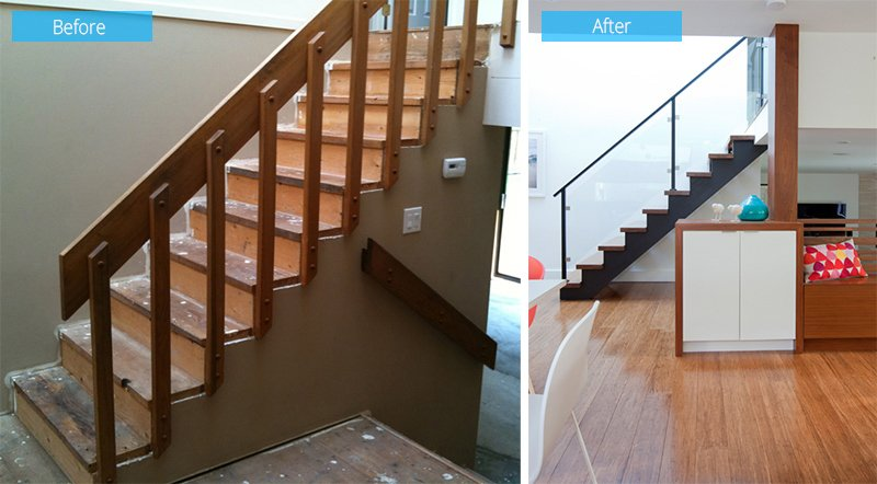 before after side stairs