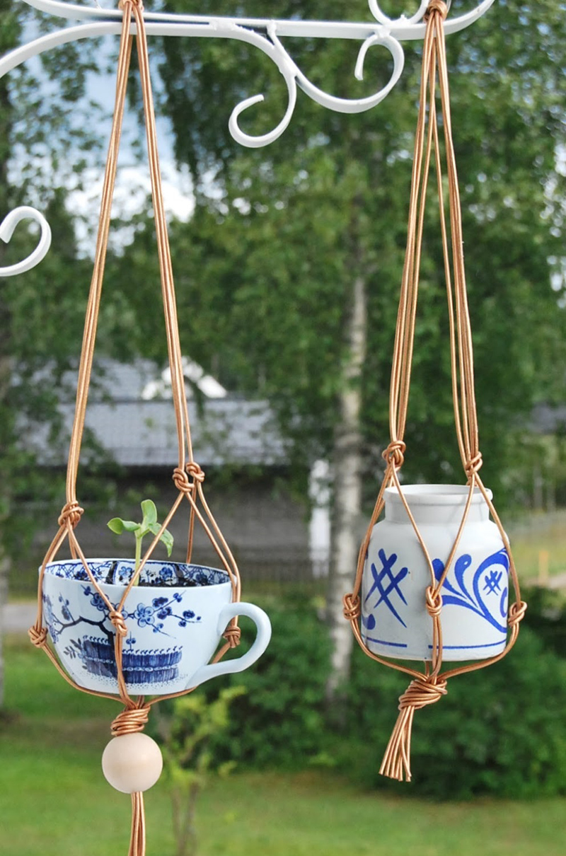 Hanging China Teacup Planters