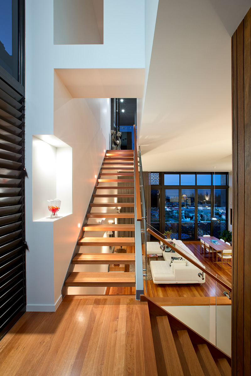 Foyer Staircase Qld : Before and after remarkable s contemporary duplex in