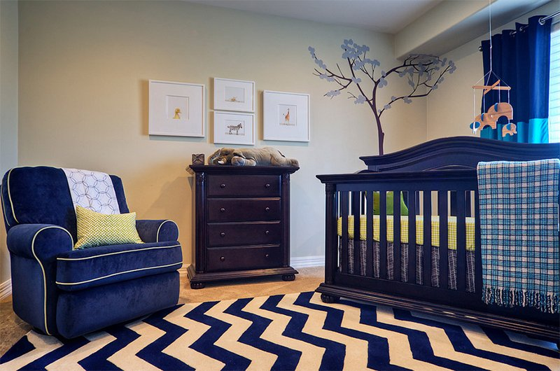 blue furnitures nursery room
