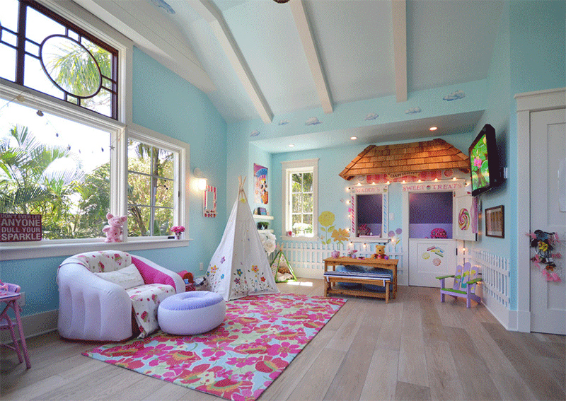 colorful living room teepee