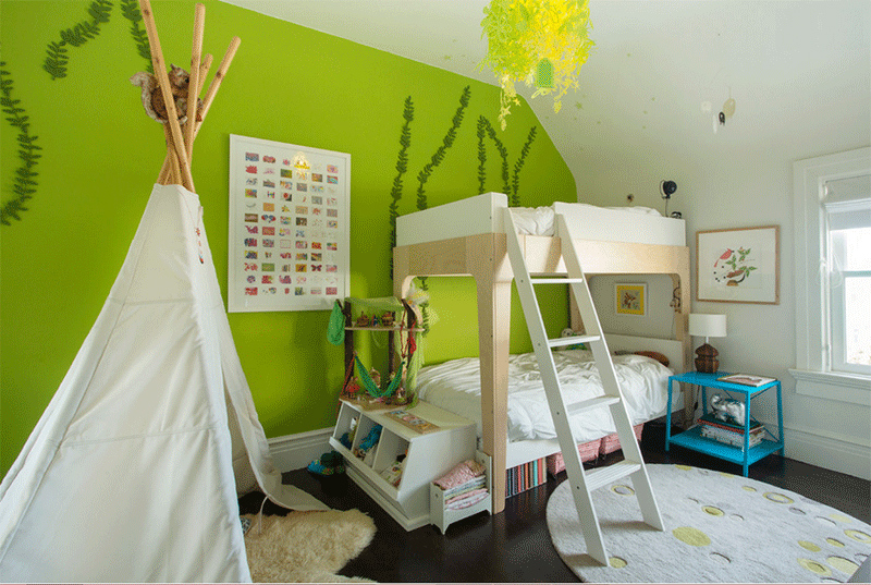 green teepee bedroom