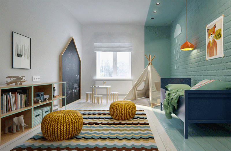 aqua bedroom with teepee