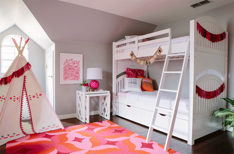 pink bedroom teepee