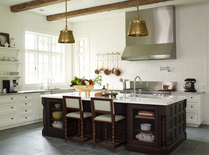 22 Beautiful Kitchens With White Brick Walls Home Design Lover