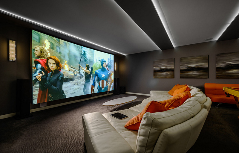 20 well designed contemporary home cinema ideas for the basement home design lover. Black Bedroom Furniture Sets. Home Design Ideas