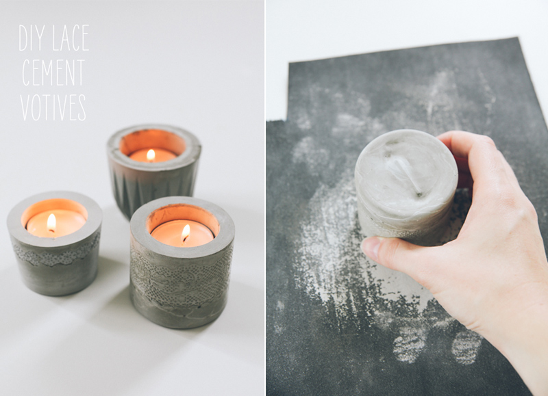 DIY Laced Cement Votive