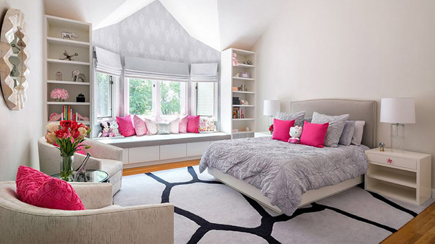 20 elegant and tranquil pink and gray bedroom designs for Living room ideas pink and grey