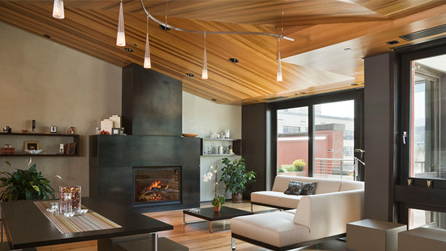 23 living rooms with wooden ceilings exuding a warm aura home design lover - Woodwork design for living room ...