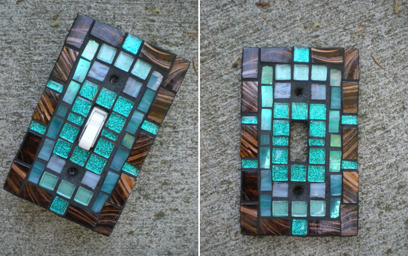 Mosaic Light Switch Cover - Bronze and Teal Stained Glass Switch plate