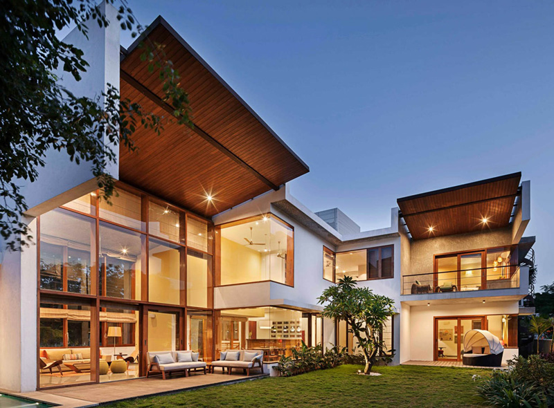 L-Plan House Exterior Night 4