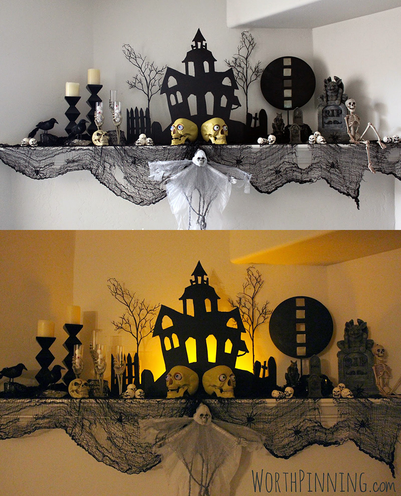 halloween mantel costumedecor ideas - Halloween Mantle