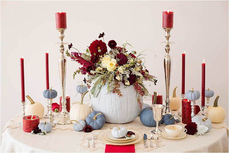 Dusty Blue and Cranberry Fall Tablescape