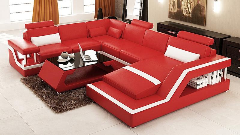 red and white sectional