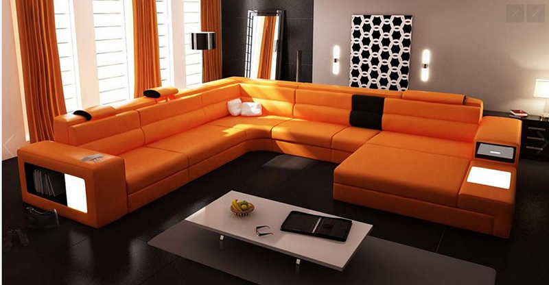 orange modern sectional