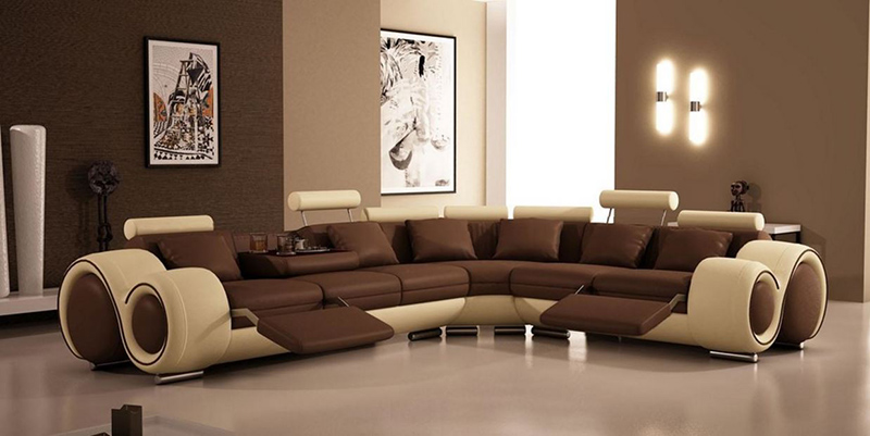 beige and brown sectional