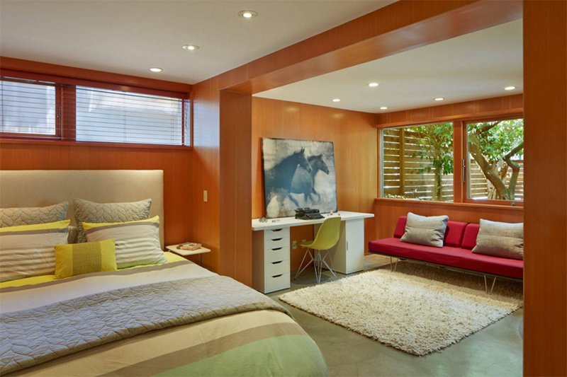 mid century in county orange furniture modern bedroom