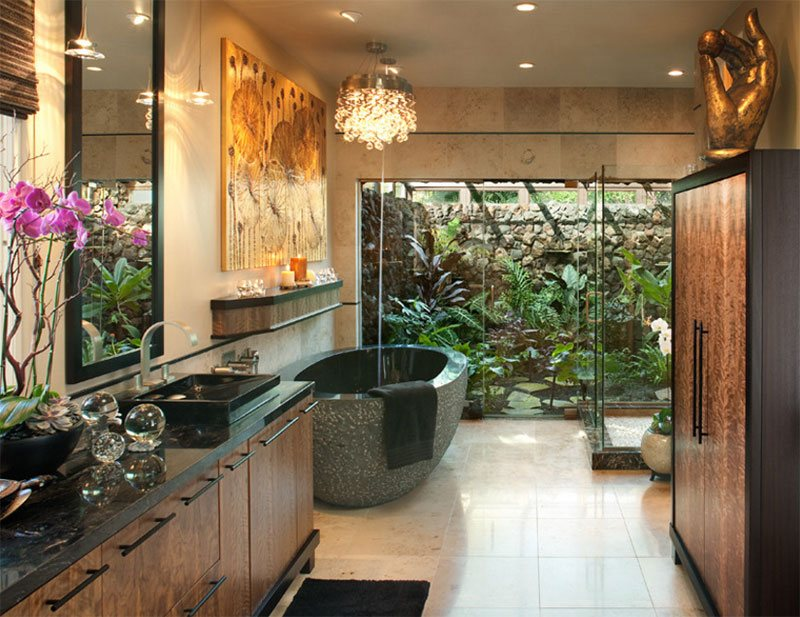 Waterfall Shower tropical bathroom.. Wow | Waterfall shower