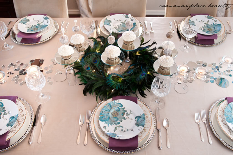 Peacock Inspired New Year's Eve Tablescape