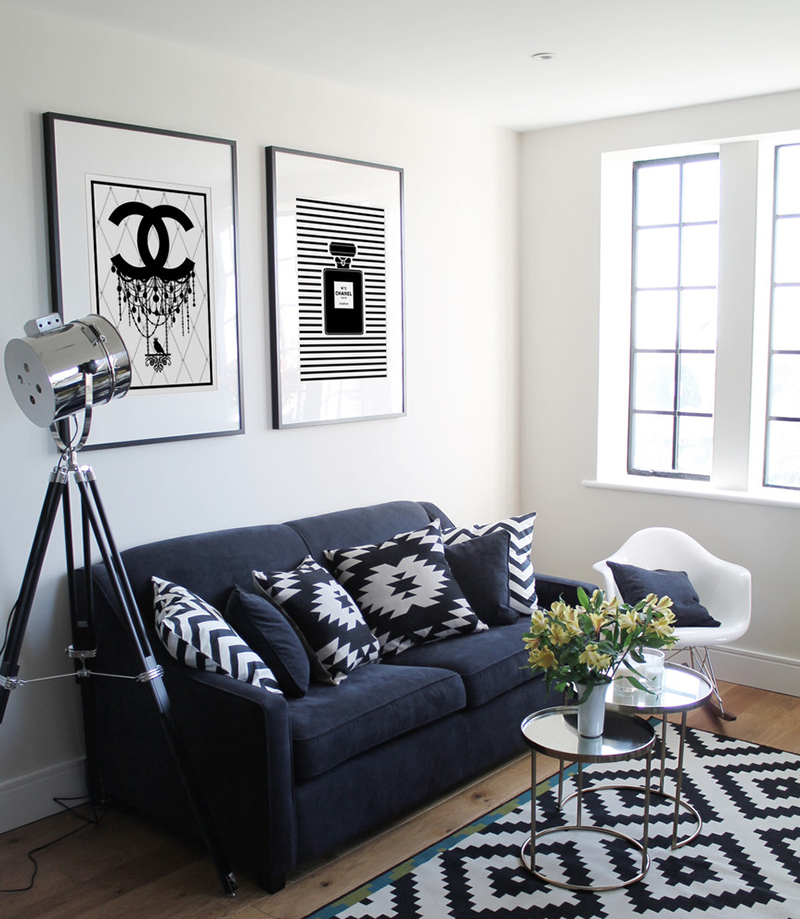 Living Room Area Rugs Blue Walls: 23 Modern Living Rooms Adorned With Black And White Area