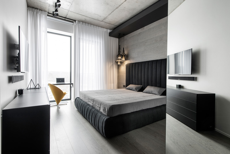 Black and White Apartment bed