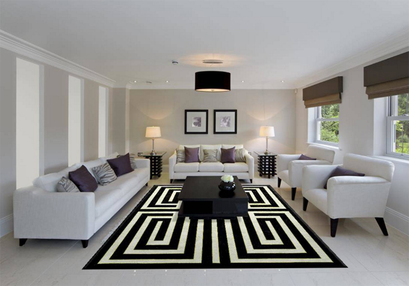 23 Modern Living Rooms Adorned with Black and White Area Rugs | Home ...
