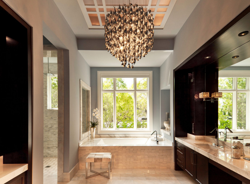 20 Gorgeous Bathroom Crystal Chandeliers | Home Design Lover