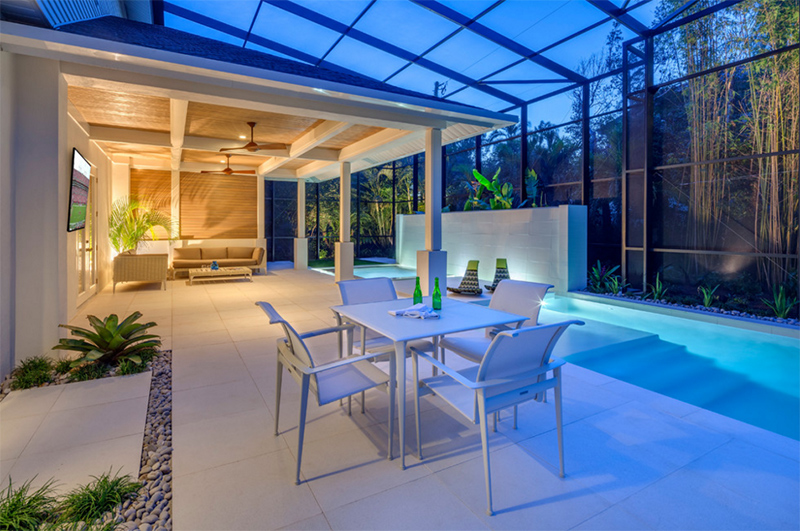 Pool patio renovation with pavilion