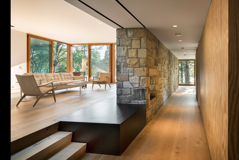 Stonington Residence stone granite wall