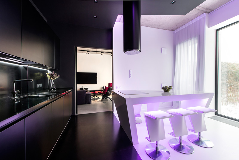 Black and White Apartment purple