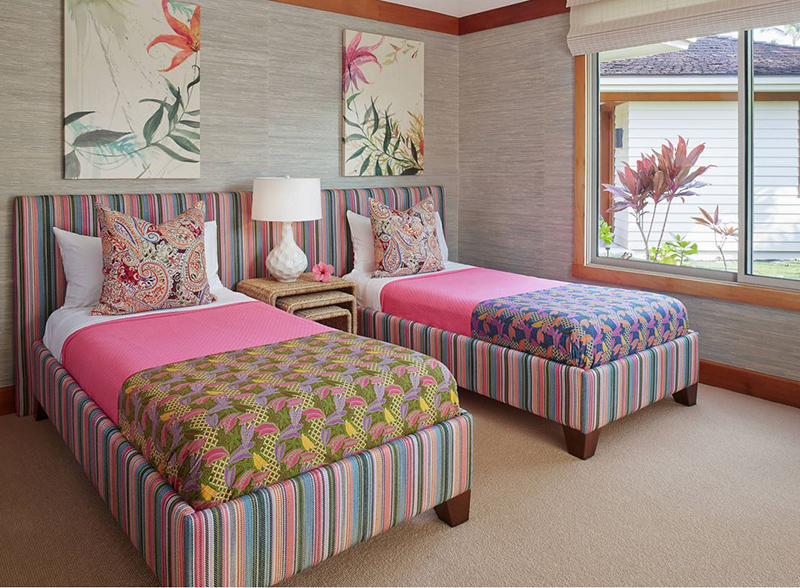 colorful tropical bedroom