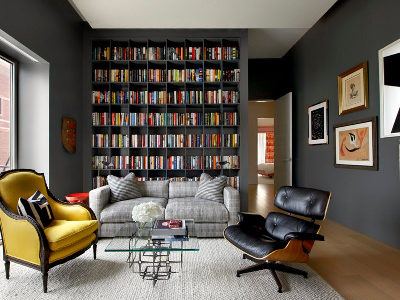 22 interesting ways to add bookshelves in the living room home design lover. Black Bedroom Furniture Sets. Home Design Ideas