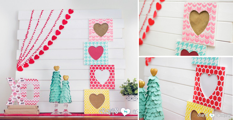 Stenciled Heart Frames