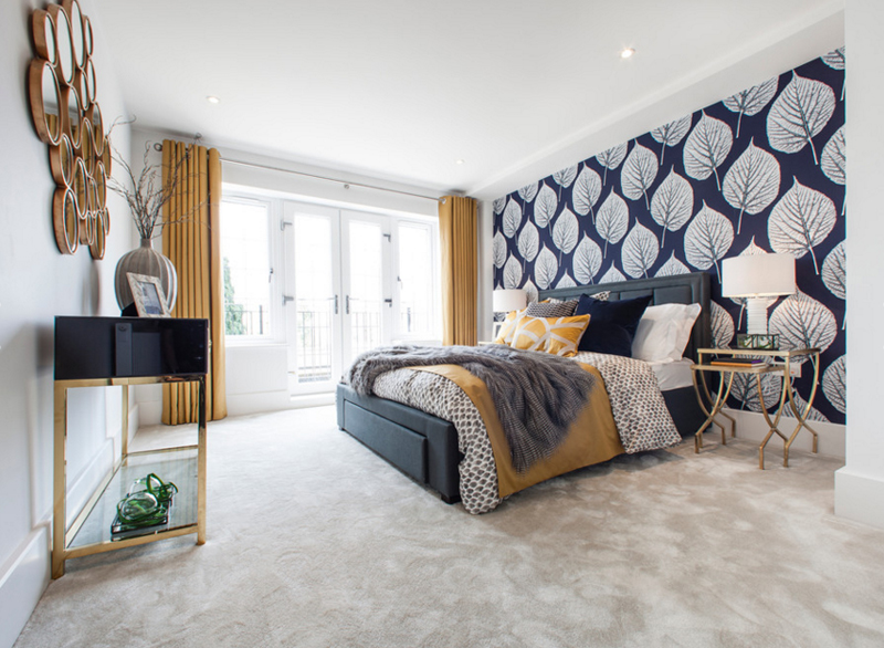 20 beautiful bedroom designs with gold and navy accents home design lover chambre bleu marine et