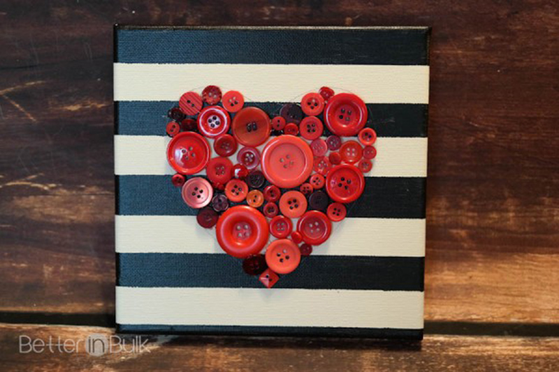 Button Heart Canvas Wall Art