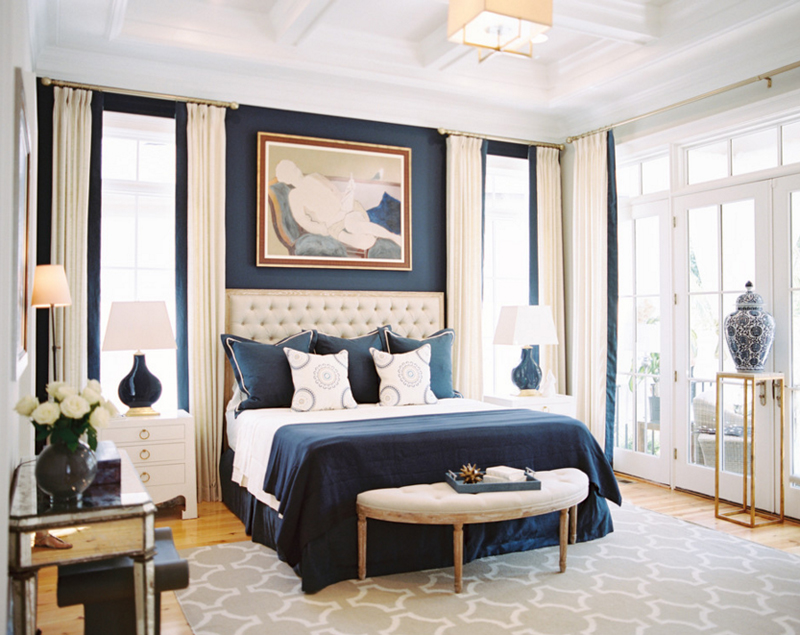 20 Beautiful Bedroom Designs With Gold And Navy Accents Home Design Lover